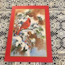Vintage Greeting Card Christmas Red Cardinal Bird Pine