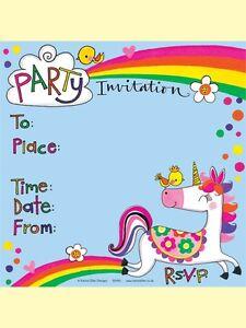 Unicorn Theme Party Invitations Girls Birthday Party Invites Unicorn