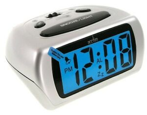 Acctim-Auric-Digital-Display-LCD-Alarm-Clock-12340-SILVER-With-Snooze-Light