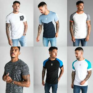 GYM-KING-Mens-High-Build-Logo-Retro-Stripe-Designer-Casual-T-Shirt-Tee-Top-New