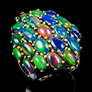 Top-Rainbow8ct-Natural-Black-Opal-925-Sterling-Silver-Ring-Size-6-75-R121813