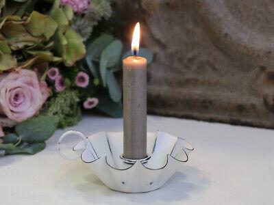 Kerzenhalter Kerzenständer KAMMERLEUCHTER weiß 10x4cm Landhaus Shabby Nostalgie