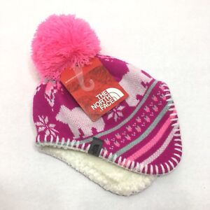 North Face Infant Baby Faroe Beanie Knit Hat Pom Pom XXS 0-6 Months ... 931f46fc5fa