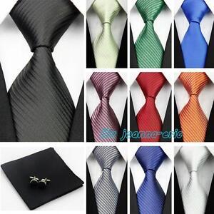 100-Silk-Ties-3-034-4-034-Mens-Wedding-Neckties-Cufflinks-Sets-Hanky-Handkerchief
