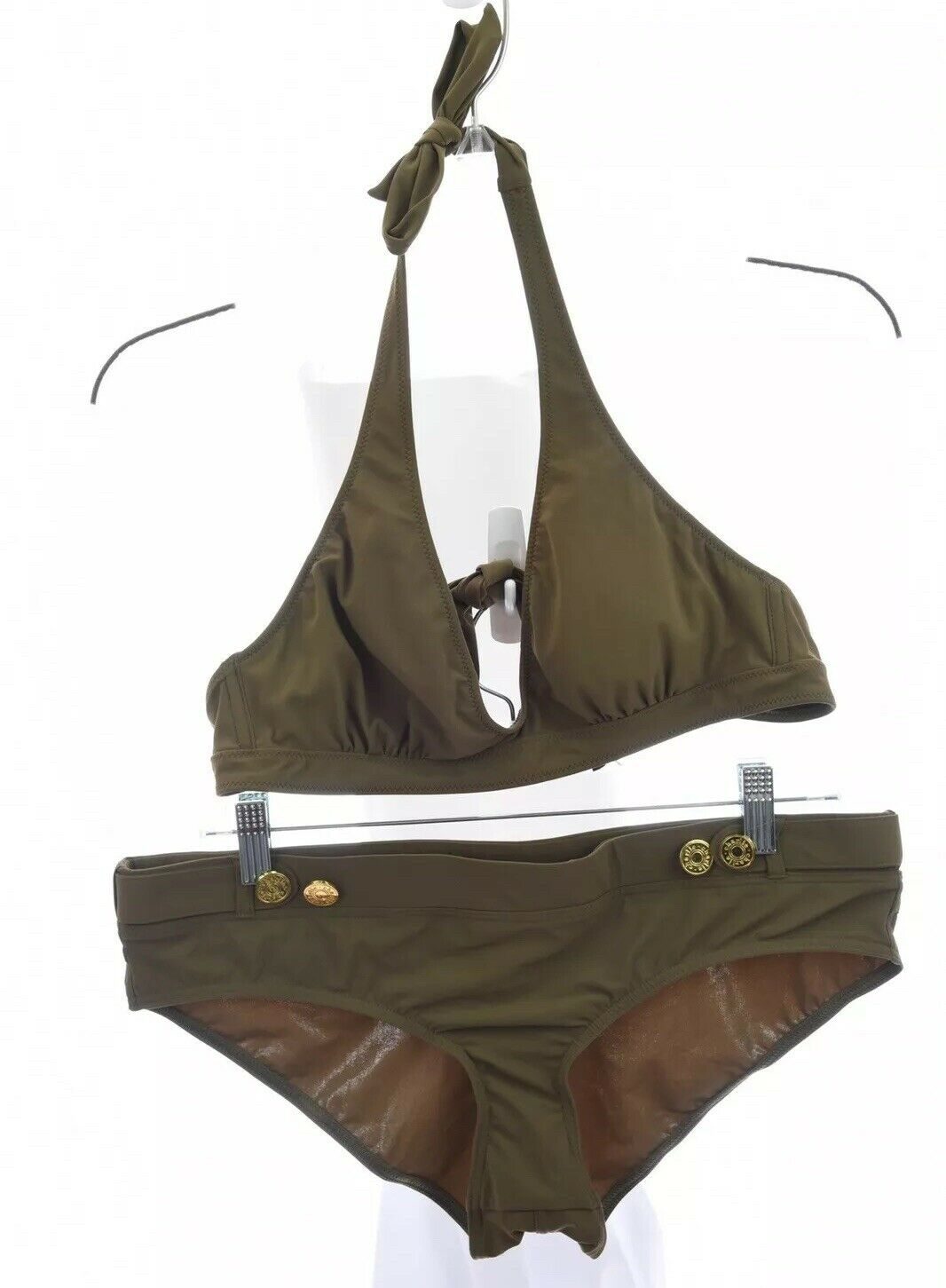Charlie Matthew by Zink MZ 2pc Bikini Boyshort Halter Set Army Green Sz Large