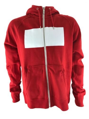White RRP £70 Nike Poland Authentic AW77 Mens Hooded Jacket Sweatshirt Red