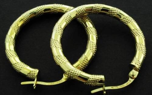 9CT GOLD HOOP EARRINGS ROUND CREOLE SATIN STRIPE TUBE PATTERENED SLEEPER LOOPS