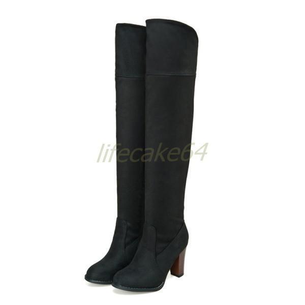 Overkneestiefel 34-43 Damen Schuhe Winter Ritter Stiefel 34-43 Overkneestiefel schwarz Volltonfarben 3a6995
