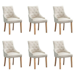 Set of 6 Beige Dining Chair Button Tufted Fabric Padded ...