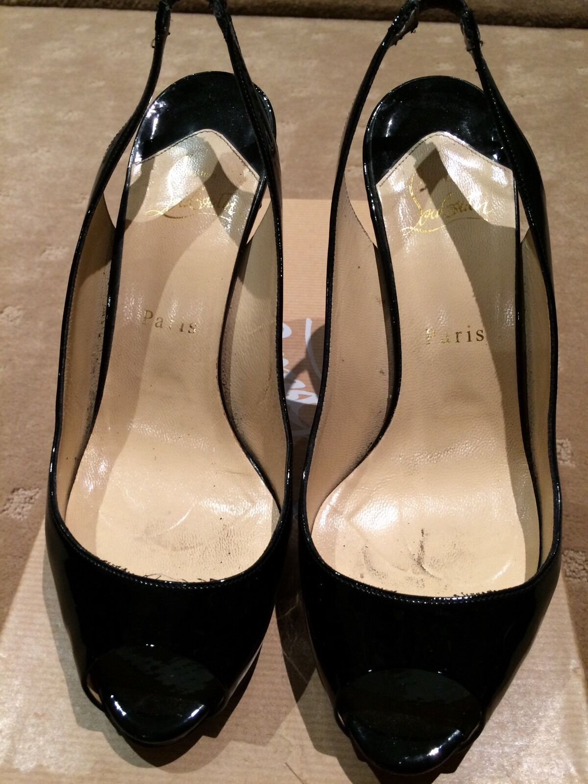 CHRISTIAN LOUBOUTIN LADIES noir PATENT SLING BACK  Taille 38   1200+  GREAT COND