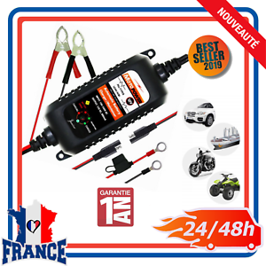 Chargeur-de-Batterie-Digital-Intelligent-Auto-Moto-Quad-Bateau-Voiture-12V-800mA