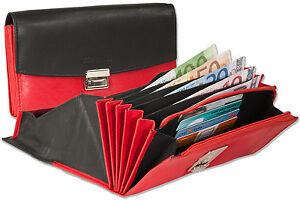 Rimbaldi ® Cuir Serveur Bourse Avec Extra Renforcé Hartgeldfach En Noir/rouge-afficher Le Titre D'origine Belle Qualité