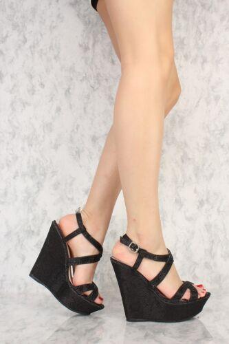 Lot 4 Faux Leather Black Silver Gold Wedges High Heels Glitter Shoes Platform