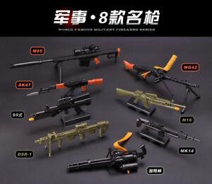 Details about 1/6 PUBG BattleField AK47 MG42 M16 MK14 M134 M82A1 Sniper  Battle Rifle GUN 8PCS