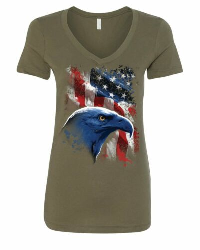 American Bald Eagle Women/'s V-Neck T-Shirt American Flag 4th of July Patriotic