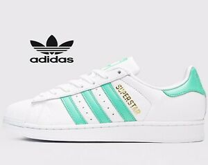 sale retailer 450ee 079a9 Details about 🔥 Adidas Originals Superstar ® ( Men UK Sizes: 6 - 13 )  White Green Stripes