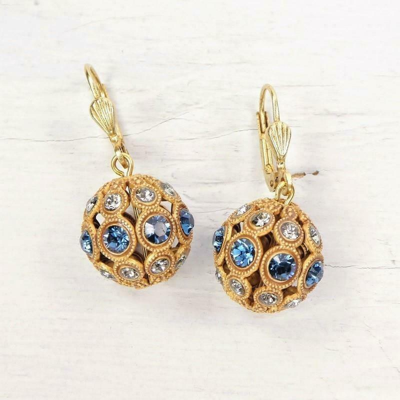 La Vie Parisienne Catherine Popesco Midnight bluee Crystals Orb Ball Earrings