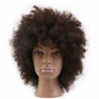 Afro Mannequin Head 100% Human Hair Practice Hairdresser Training Hairdressing