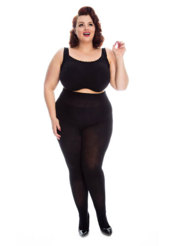 All Woman Cotton Tights Plus Size XXL Extra Large Opaque Warm Tights BLACK 16-32