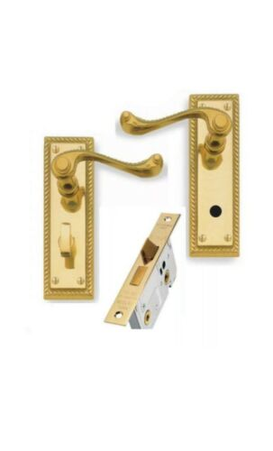 """Georgian Brass Lever Bathroom Door Handle Set 64 mm 2 1//2 /""""Toilettes Lock 150 x 48 mm"""