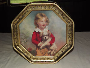 "VINTAGE OLD LARGE 12 1/4"" X 12 1/4"" CHILDREN GIRLS DOG METAL TIN"