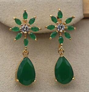 18K-Yellow-Gold-Filled-1-2-039-039-Flower-Teardrop-Emerald-Jade-Topaz-Stud-Earrings