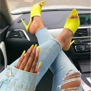 Woman-Candy-Pointed-Stiletto-High-Heel-12-5CM-Slippers-Sandals-Rubber-Sole-Shoes