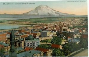 Divided-Back-Postcard-1907-1914-Mt-Tacoma-aerial-view-of-city-Unused-C-Teich