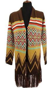Hot-amp-Delicious-Womens-Sweater-Duster-Jacket-Fringe-Tribal-Print-Sz-Small-Medium