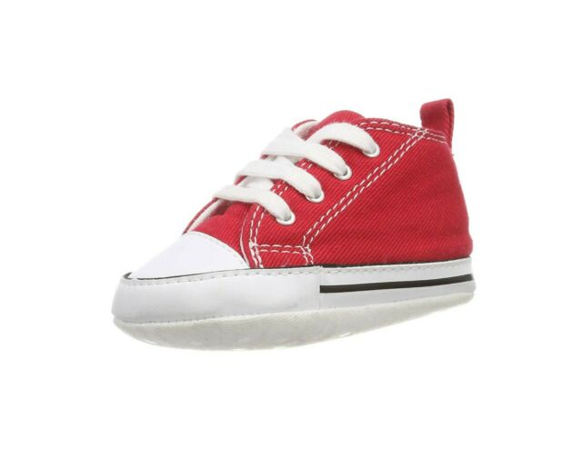 b7dac80fc9634 Converse All Star First Star Hi Infant Baby Crib Trainer Shoes Red New Born