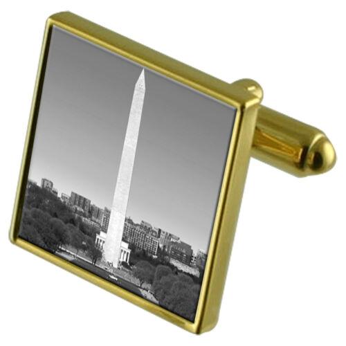 Monument de Ensemble boutons doré ton de en Washington Dc avec manchette cristal en clip BXw4q5n