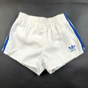 24-26 Navy Blue Running Shorts Thick White Stripes Adidas Trefoil Youth Boys M