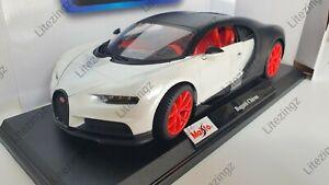 1-18-Maisto-escala-Bugatti-CHIRON-Blanco-y-Negro-Diecast-Modelo-Coche