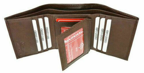 Mens RFID Blocking Leather Wallet Identity Theft Signal Scan Proof Technology