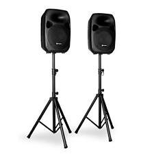 """PAIR OF 12"""" ACTIVE PA SPEAKERS AND TRIPOD STANDS 700W DJ STAGE KARAOKE PARTY SET"""