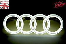 SET OF 2 FRONT REAR 4D 3D AUDI LED WHITE LIGHT CAR AUTO LOGO BADGE EMBLEM RINGS