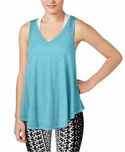 New-Calvin-Klein-Performance-Women-Relaxed-Icy-Wash-Yoga-Tank-Top-PF6T3412-Blue
