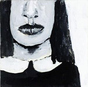 Black & White Minature Art Painting Original Old Books Katie Jeanne Wood