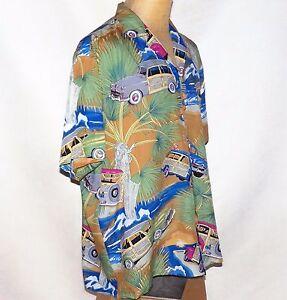 taglia 40 963b1 30970 Dettagli su Vintage Diamond Head Sportswear Legno Surf Vagoni Woodie Aloha  Camicia Hawaiana