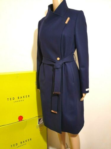 TED BAKER SANDRA NAVY WOOL CASHMERE WRAP COAT UK 16 TED 5 US 12 BNWT RRP £329.00