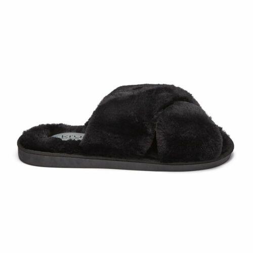 Ladies Women Flat Fur Fluffy Sliders Slippers Comfy Sandals Flip Flop Shoes Size