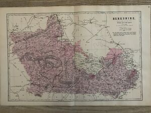1884 Berkshire originale antico colorato a mano County Mappa di Edward WELLER