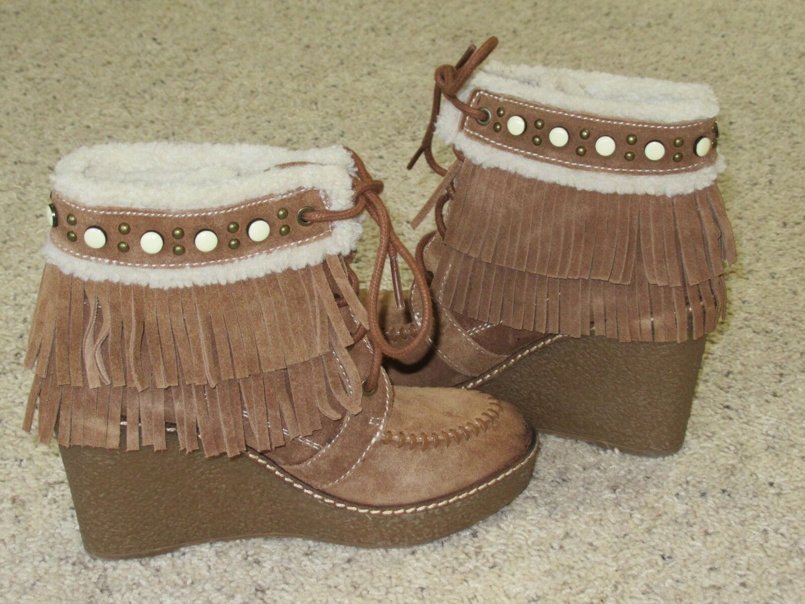 Sam Edelman Kemper Womens Suede Fringe Studded Wedge Boots 6.5