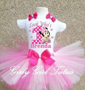 Minnie Mouse 1st Birthday Outfit.Details About Baby Girl Minnie Mouse 1st Birthday Polkadot Pink Birthday Tutu Outfit Set