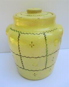 Vintage-Cookie-Jar-Pottery-Stoneware-Lid-Crock-Ear-Handles-Folk-Art-Yellow