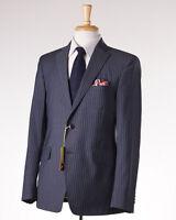 $2375 Etro Gray-blue Stripe Wool Suit Slim 40 R (eu 50) Contrast Silk Lining