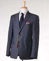 $2375 Etro Gray-blue Stripe Wool Suit Slim 40 R (eu 50) Contrast Silk Lining