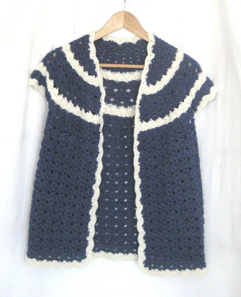 Vintage Women Hand Knit Crochet Short Sleeve Open… - image 1