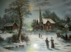 Old Fashioned Christmas Pictures.Details About Old Fashioned Christmas Rural Church Village By J Hoover