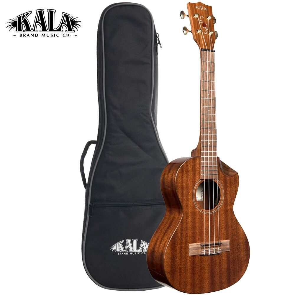 Kala KA-SMHT-SC Solid Mahogany Scallop Scooped Tenor Cutaway Ukulele with Bag